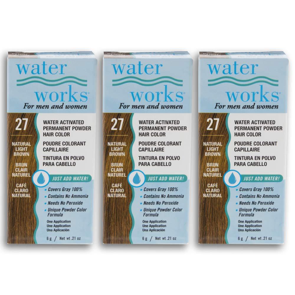 Water Works Powder Hair Color, Permanent, Light Brown, 3 packs