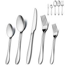 LIANYU 65-Piece Silverware Set with Serving Utensils, Stainless Steel Flatware Cutlery Set for 12, Eating Utensil Tableware Sets, Mirror Finish, Dishwasher Safe