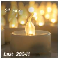 24 Flameless LED Tea Lights Unscented Cream White Fake Flickering Battery Operated Electric Tealight Candles Bulk Set Baptism Party Wedding Decorations Home Kitchen Decor Long Lasting Batteries Incl.