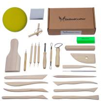 Skilled Crafter Clay Tools Set. Premium Quality Detailing, Modeling, Sculpting & Pottery Wheel Tools. 22 Piece Wood/Metal Kit. Free Sponge! Deluxe Set Best for Potters/Artists of Ceramic, Sculpey etc
