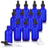 2 oz Cobalt Blue Glass Boston Round Dropper Bottle (12 Pack) + Funnel