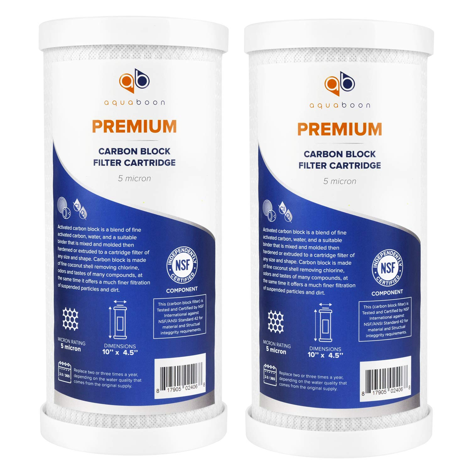 Aquaboon Premium Big Blue Coconut Shell Replacement Water Filter Cartridge   Activated Carbon Block CTO   Universal Whole House 5 Micron 10 x 4.5 inch Cartridge   Compatible with Pentek EP-BB 2-Pack