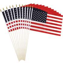 "Anley Pack of 12 USA Stick Flag - 18"" x 12"" Handheld America Gravemarker Stick Flags - 30"" Solid Wooden Flag Pole with Spear Top - Vivid Color & Durable(1 Dozen)"