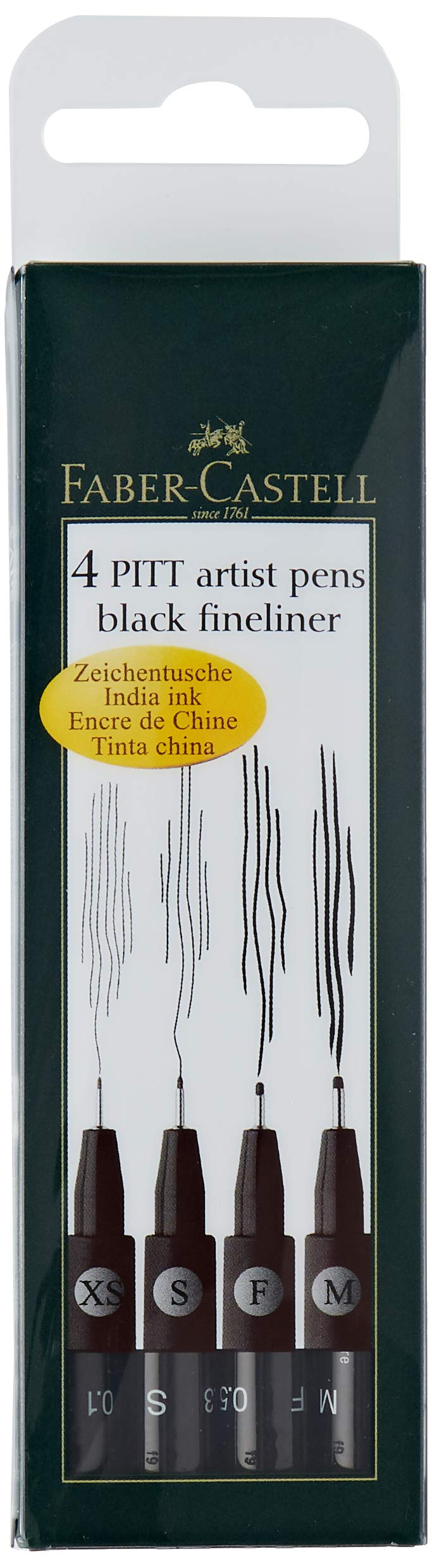 Pitt Pigmented Drawing India Ink Artist Pen Box of 4 Line Widths in Black From Faber Castell