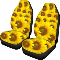 HUGS IDEA Yellower Sunflower Design Front Seat Covers 2 Piece Vehicle Seat Protector Car Mat Covers, Universal Fits Most Cars, Sedan, SUV, Van