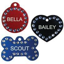 GoTags Pet ID Personalized, Swarovski Crystal Dog and Cat Pet ID Tags – Available in Bone, Round, or Heart Shapes – Double Sided (Front and Back) Custom Engraved, Various Colors