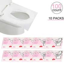 Flushable Paper Toilet Seat Covers, 10 Travel Packs (100 Covers), Each Pack contains 10 Paper Seat Covers, Hygienic, Disposable, Pocket Size for Kids Pregnant Mom Travel Hotel Public Toilets