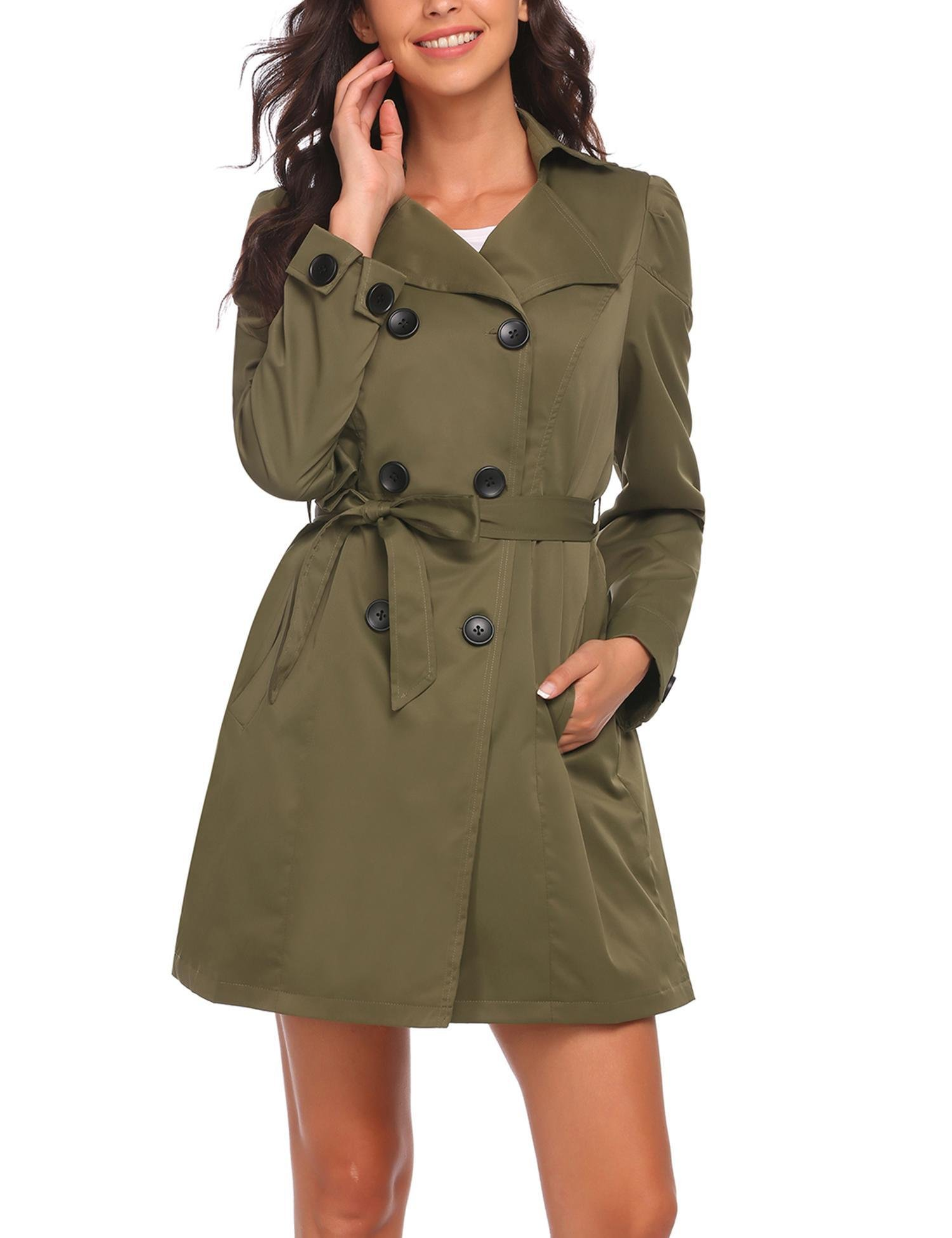 ELESOL Women's Trench Coat Long Double Breasted Jacket with Belts
