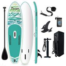 Tuxedo Sailor Inflatable Stand Up Paddle Board Surfboard Ultra-Light (20.9lbs) SUP with Adj Paddle, ISUP Backpack, Pump, Phone Bag, Leash for Adults and Kids of All Levels of Surfing