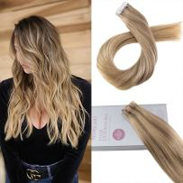 Moresoo Tape on Hair Extensions Human Hair 24 Inch Seamless Skin Weft Hair Extensions 20PCS 50G Color 10 Brown to 16 Blonde Mixed with 16 Blonde Real Human Hair Tape in Extensions