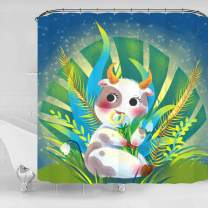 Diamerd Kids Shower Curtain for Bathroom - Cute and Funny Animal Shower Curtain, Waterproof No Fading Polyester Fabric Stall Shower Curtains 72 × 72 Inch with 12 Hooks (Cattle)