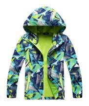 Hiheart Boys Girls Composite Mesh Lined Packable Windproof Hoodies Jacket