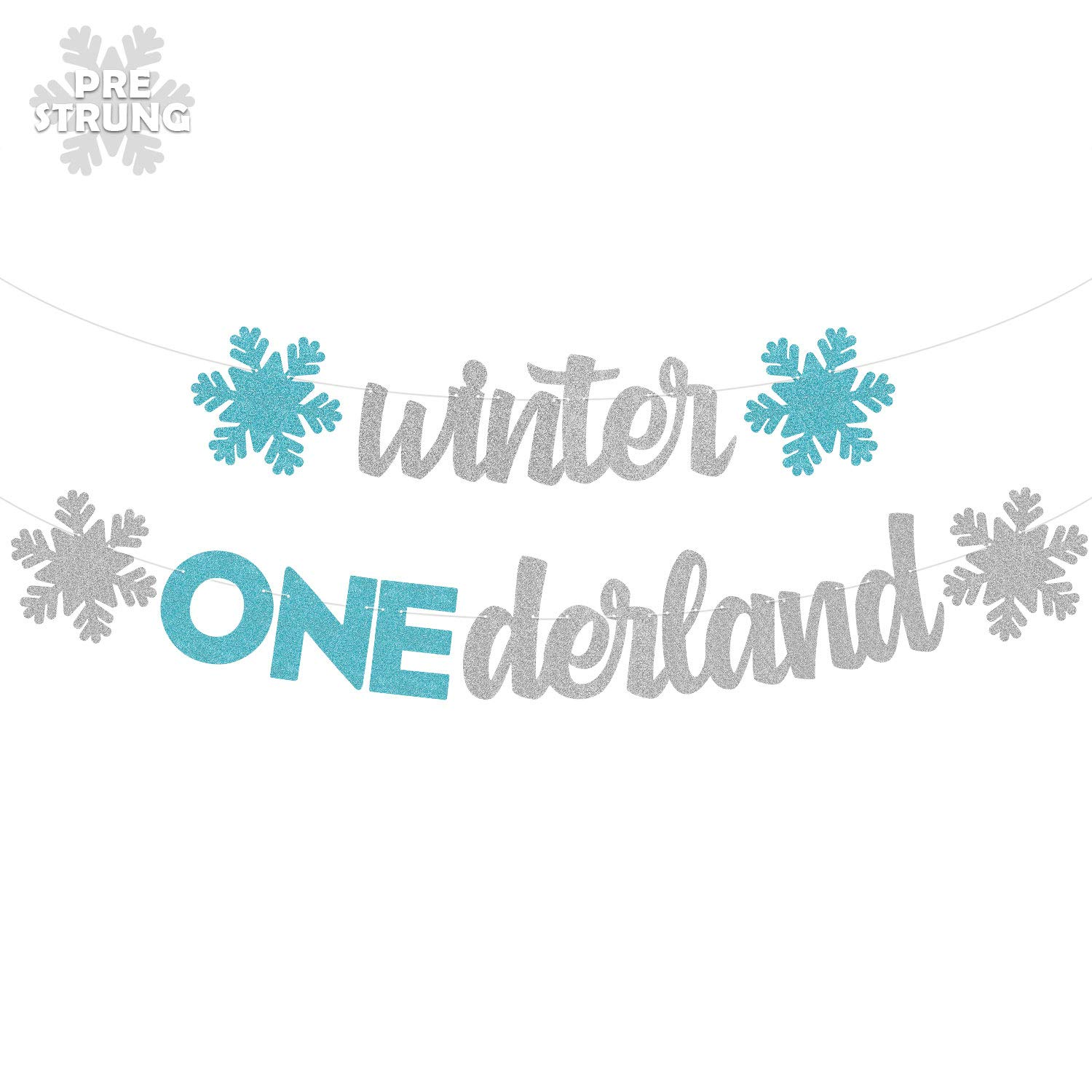 Winter Onderland Banner Christmas Snowflakes Garland Snowman Themed Happy Birthday Party Supplies Winter Wonderland Silver Glitter Decorations
