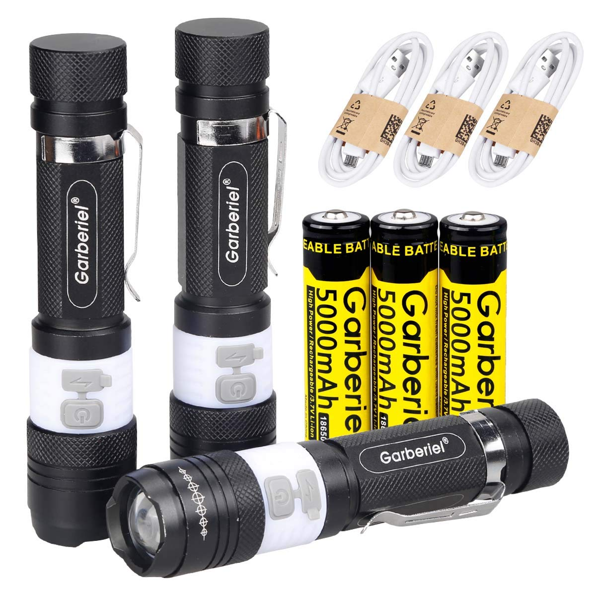 HeCloud 3 SETS USB 3 Modes LED Flashlight Torch USB Rechargeable with Battery and USB Cable