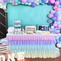 Unicorn Table Skirt Rainbow Tutu Table Skirts for Baby Shower Birthday Unicorn Party Home Decor Table Skirting 9ft