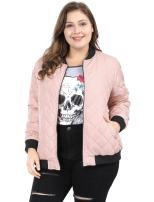 Agnes Orinda Women's Plus Size Zip-up Contrast Color Quilted Bomber Jacket