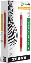 Zebra Z-Grip Gel Retractable Roller Ball Pen, Medium Point, 0.7 mm, Smoked Red Barrel, Black (42430)