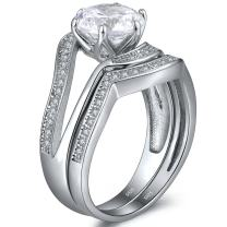 MABELLA Wedding Engagement Ring Set 2.1 Carat Solitaire Round Cubic Zirconia Sterling Silver Gifts for Women