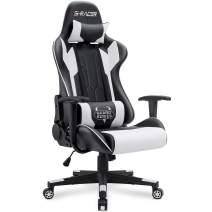 Homall Gaming Chair Racing Office Chair Sracer Computer Desk Chair High Back Leather Executive Swivel Chair Ergonomic Adjustable (White)