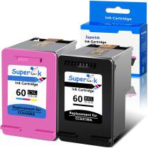 SuperInk Remanufactured 60XL 60 XL CC641WN CC644WN Ink Cartridge Replacement Compatible for Hp Photosmart C4680 D110 Deskjet D2680 D1660 D2530 F2430 F4210 Printer (1 Black 1 Tri-Color)