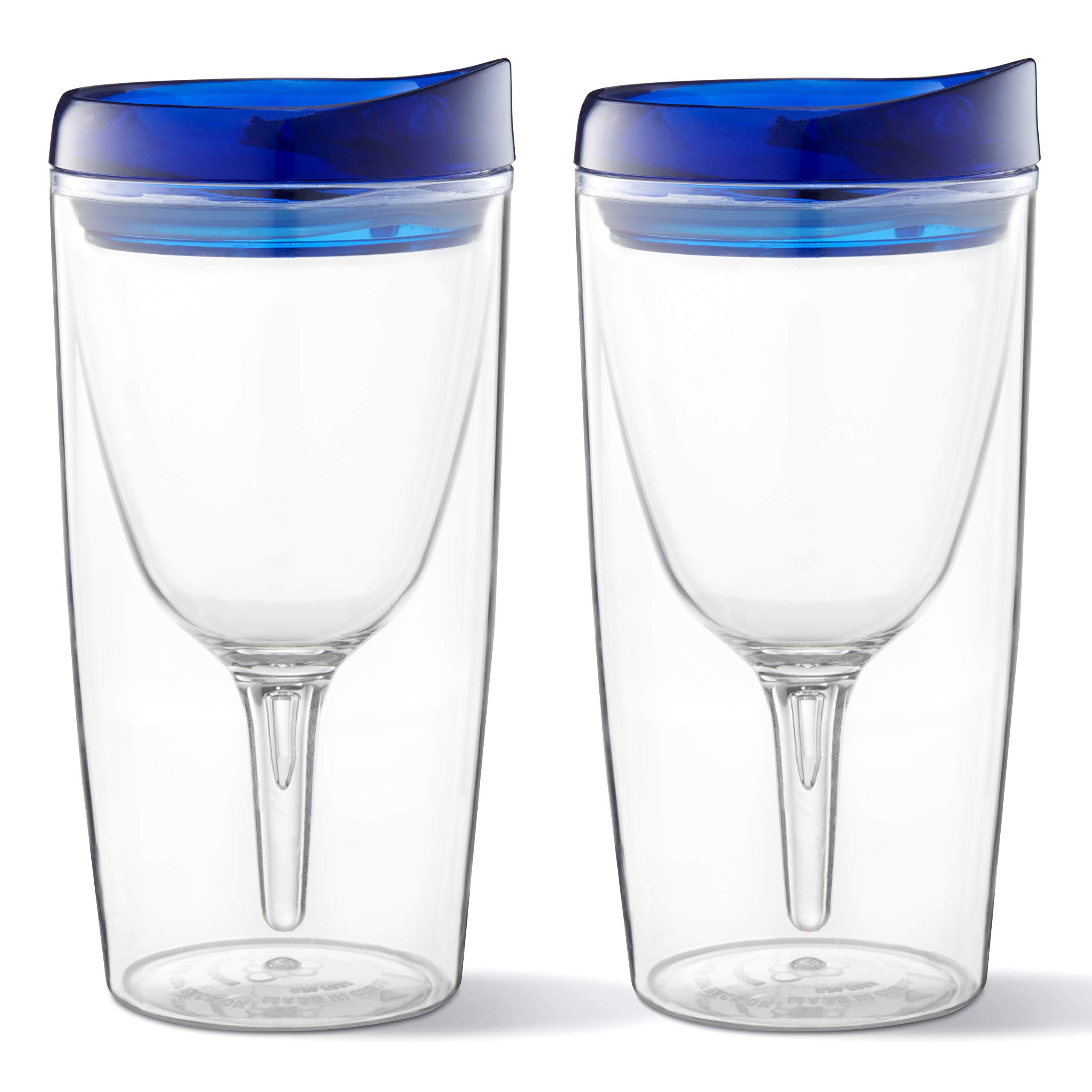 Vino2go 10 Oz Wine Glass Tumbler 2 Pack Unbreakable Tritan Material Double Wall Insulated With Blue Lids