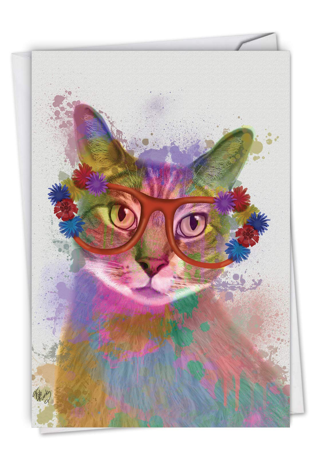 The Best Card Company, Funky Rainbow Cats - Happy Birthday Greeting Card - Colorful Animal Watercolor, Fun Kids Card C6199IBDG
