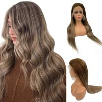 13x6 Lace Front Wig Brown with Blonde Balayage 150% Density 22 Inch Long Layered Straight Blonde Highlights Human Hair Wig with Baby Hair Pre Plucked
