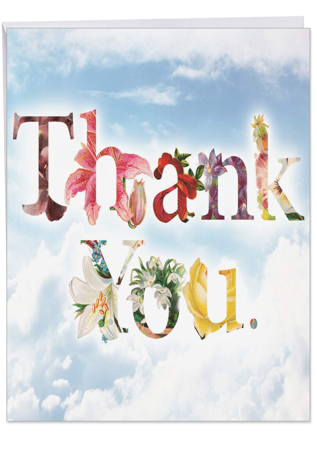 Thanks a Bunch - Big Thank You Card with Envelope (Extra Large 8.5 x 11 Inch) - Elegant Flower Font Appreciation Card for Friends and Family - Simply Beautiful Stationery Notecard J2359ATYG