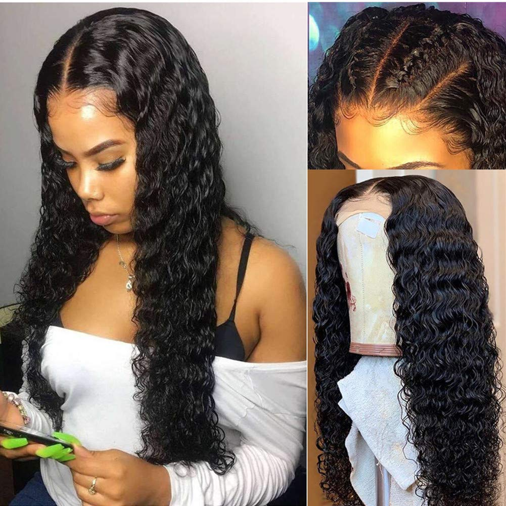 Brazilian Deep Curly Wave Lace Front Wigs Human Hair Pre Plucked Lace Frontal Deep Wigs 13X6Human Hair Wet and Wavy Wigs Deep Water Wave Lace Front Wigs With Baby Hair Pre Plucked 9A Grade Virgin Hair