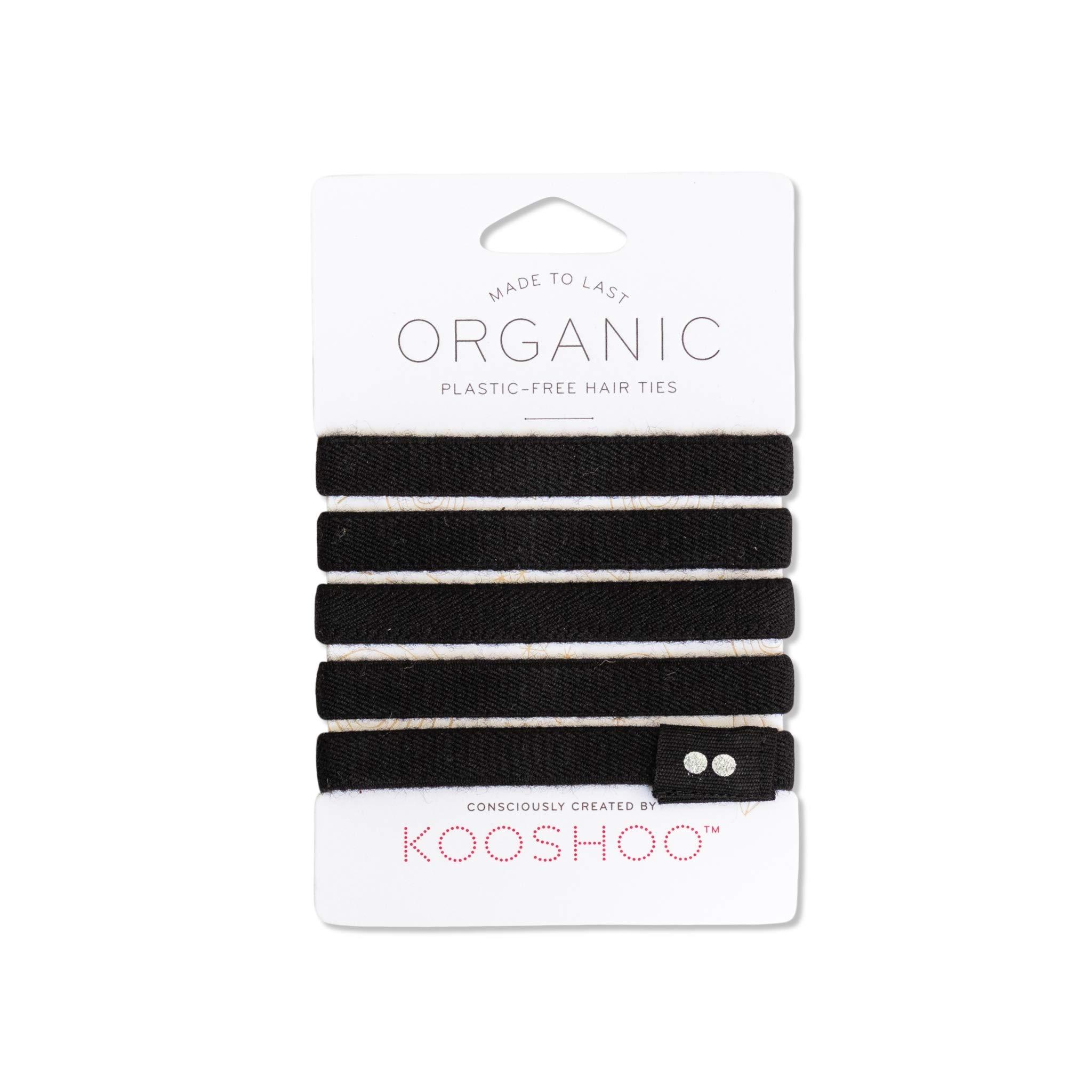 BIODEGRADABLE HAIR TIES in Black by KOOSHOO | Plastic-Free, Certified Organic Cotton Hair Elastics (5 Pack)