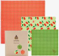 SuperBee Premium Beeswax Wraps | Set of 3: Small, Medium and Large | Long-Lasting, Organic, Eco Friendly & Ethical Trade Reusable Food Wraps - Cherry Popper