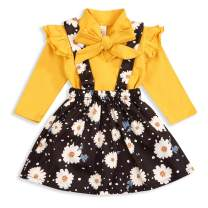 Yoveme Toddler Little Kid Girl Outfits Long Sleeve Ruffle Shirt and Floral Overall Skirt Suspender Headband Fall Clothes Set