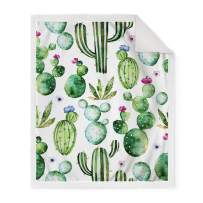 """Jekeno Cactus Flower Sherpa Blanket Soft Smooth Throw Blanket Sofa Chair Bed Office 50""""x60"""""""
