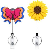 Badge Reel Holder Nurse YOUOWO 2 Pack Retractable Badge Holder reels with Alligator Clip ID Badge Reel with id Holder Horizontal Bowknot Sunflower