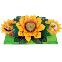 Paper Love Sunflower Pop Up Card, 3D Popup Greeting Cards, For Valentines Day, Mothers Day, Fathers Day, Graduation, Spring, Birthday, Any Occasion | With Message/Photo Insert