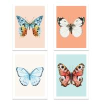 "Butterfly Wall Art Decor Posters - Set of 4 11"" x 14"" Professional Unique Prints for Baby Room Decor, Nursery, Classroom, Bedroom, Playrooms, by Kindred Sol Collective"
