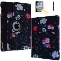 JYtrend Case for iPad 9.7 2018/2017, Rotating Stand Smart Magnetic Auto Wake Up/Sleep Cover for iPad 6th/ 5th Generation A1893 A1954 A1822 A1823 MP252LL/A MR7G2LL/A MR702LL/A MP292LL (Black Flower)