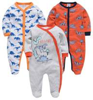 kavkas Baby Boy Footed Jumpsuit Dinosaur One Piece Romper Infant Long Sleeve Pajamas 3 Pack, 100% Cotton (0-12 Months)