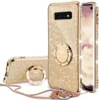 OCYCLONE Galaxy S10e Case, Glitter Luxury Cute Phone Case for Women Girls with Kickstand, Bling Diamond Rhinestone Bumper Ring Stand Compatible with Samsung S10e 5.8 inch Case for Girl Women - Gold