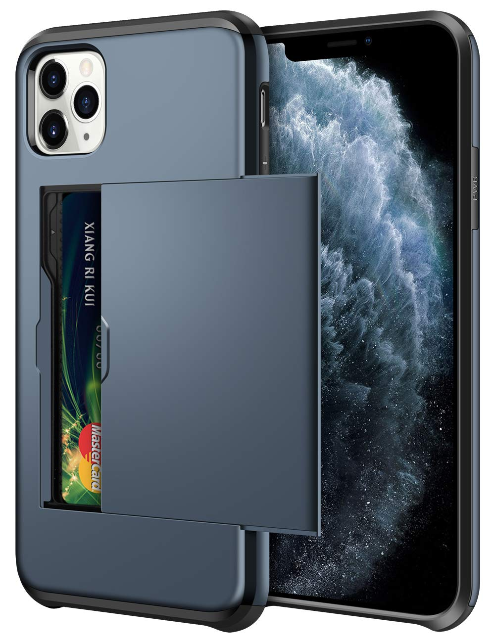 SAMONPOW Wallet Case for iPhone 11 Pro Max Case with Card Holder Dual Layer Hybrid Shell Heavy Duty Shockproof Anti Scratch Soft Rubber Bumper Cover Case for iPhone 11 Pro Max 6.5 inch Dark Blue