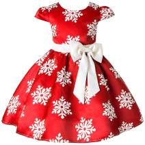 2-9 Years Christmas Holiday Dress for Toddler Girls Snow Party Queen Dress Snowman Silk Christmas Flower Dress