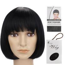 "Grammy 11"" 150g Straight Flat Bang Bob Black Short Synthetic Cosplay Hair Wig for Women Natural As Real"