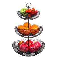 Thanksky 3-Tier Mesh Fruit Bowl Decorative Fruit Basket Holder for Kitchen, Reception, Dining Table (Black)