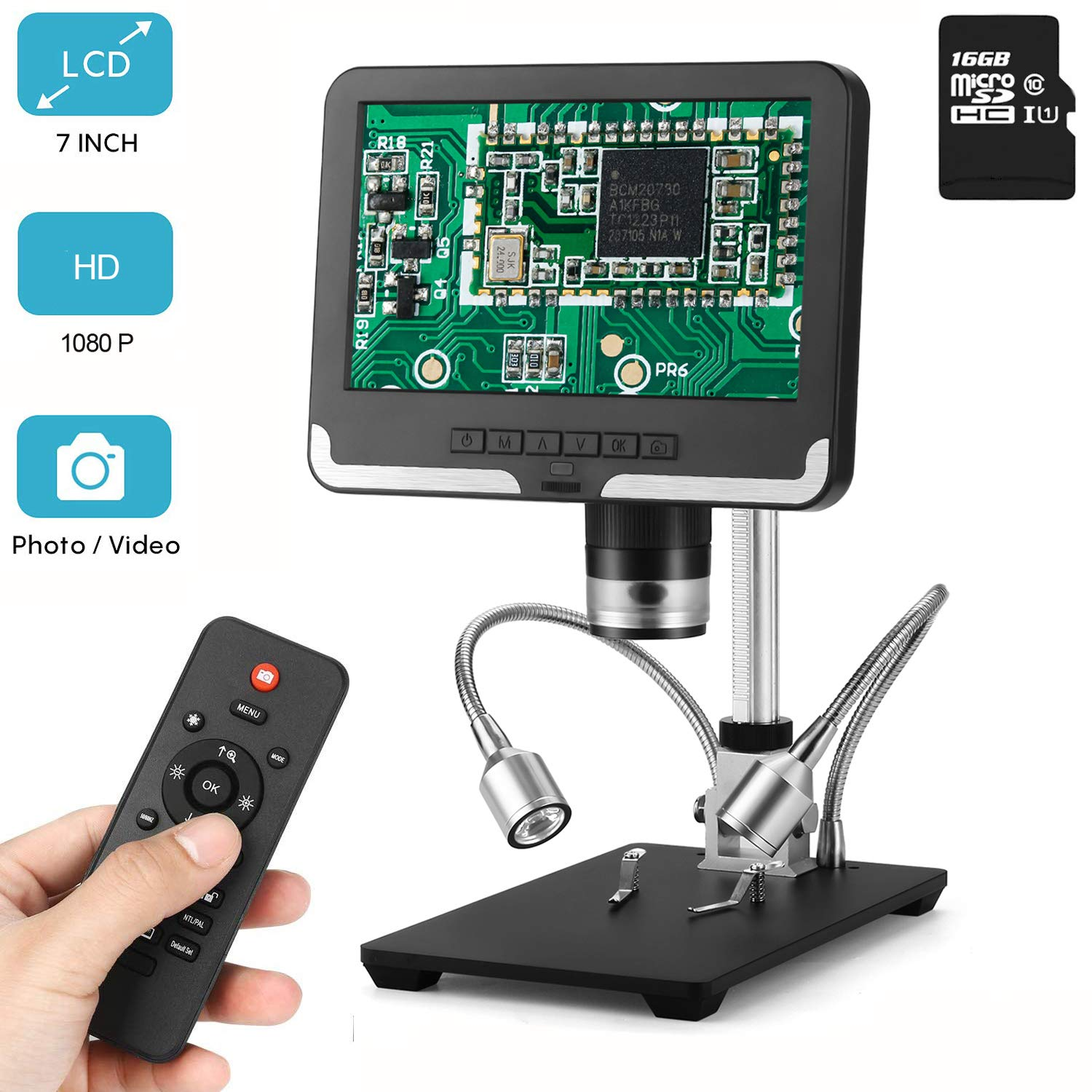 LCD Digital Microscope 7 in 1080P HD Screen 200X Magnification Zoom Camera Video Recorder with 16G SD Card, Angle Adjustable Microscope, 2 Fill Lights, with Remote Control