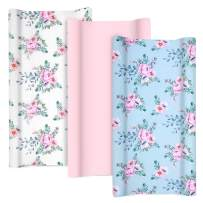 """TILLYOU Jersey Knit Changing Pad Covers 170 GSM - Thicker Softer Cradle Sheet Unisex Change Table Sheets for Baby Girls - Fit 32""""/34'' x 16"""" Pad- Comfortable Cozy -3 Pack Floral"""