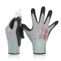 DEX FIT Level 5 Cut Resistant Gloves Cru553, 3D Comfort Stretch Fit, Durable Power Grip Foam Nitrile, Pass FDA Food Contact, Smart Touch, Thin Machine Washable, Grey Large 3 Pairs Pack