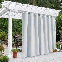 """NICETOWN Outdoor Privacy Curtain for Patio Waterproof, Thermal Insulated Room Darkening Grommet Drape for Balcony/Cabana, Privacy Curtain Room Divider, Greyish White, 1 Panel, 100"""" W by 95"""" L"""
