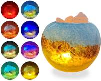 ESOW Himalayan Salt Lamp with Colored Drawing Glass Container, 3Watts LED Bulb + 55inches USB Cable, Multi Color Changing Mode & Warm Light Staying Mode, Handcraft Natural Salt Lamp for Best Gift