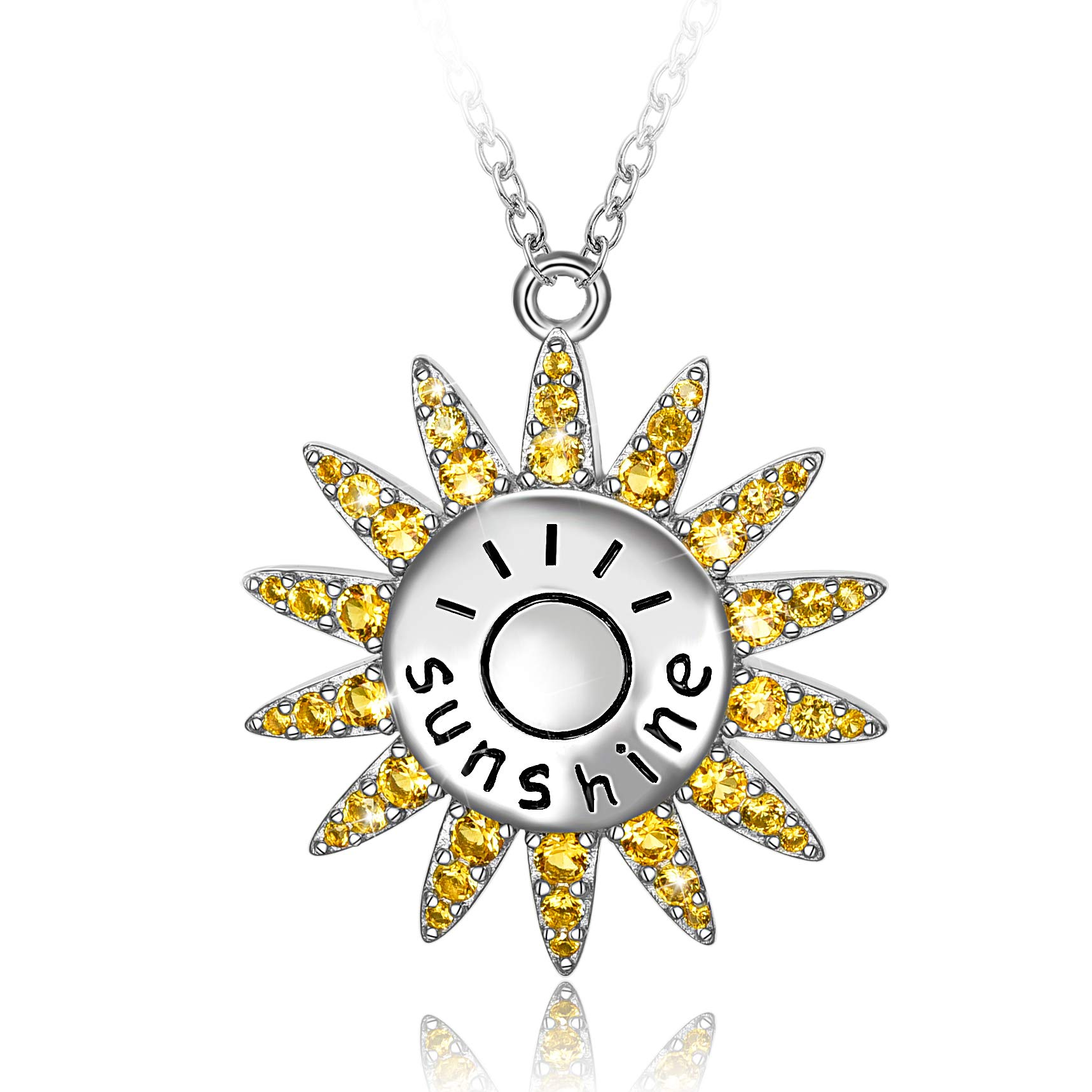 Long Way You Are My Sunshine 925 Sterling Silver Yellow Cubic Zirconia Sunflower Necklace For Women Girl