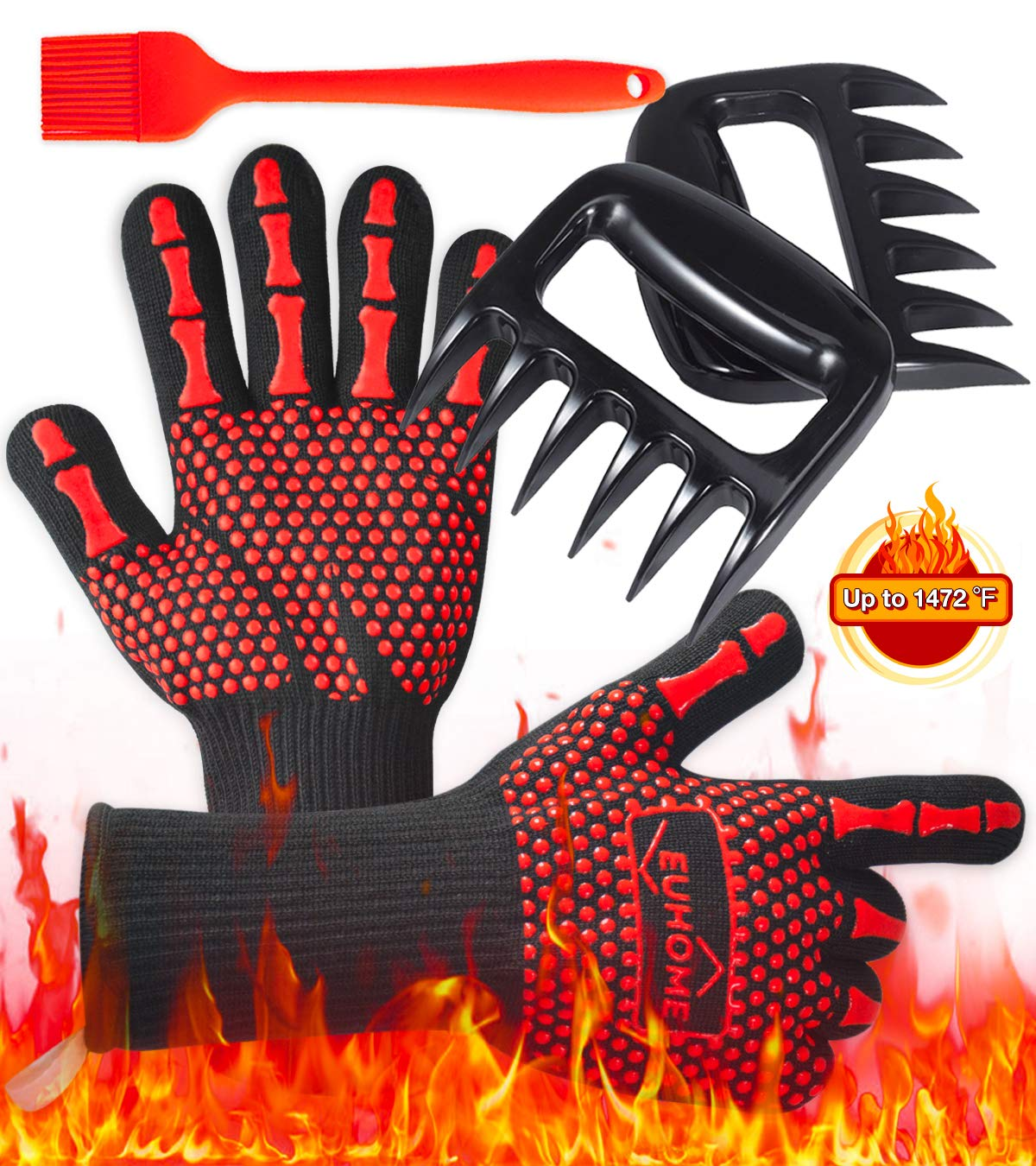 EUHOME 3 in 1 Grilling Set Accessories with EN407 Certified 1472 Extremely Heat Resistant Gloves BBQ, Grill Brush & BBQ Bear Claws. Perfect Gift for Grill, Baking, Christmas, Thanksgiving